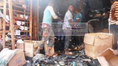 Incendie dans un marché