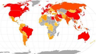 Carte du monde avec la repartition des malades du Covid-19
